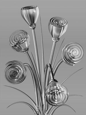 Gray Glass Flowers (2016)
