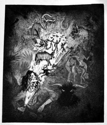 La grotte des brigands ( aquatinte et pointe sèche, 25 / 21, 2017 )