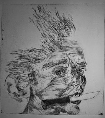 L'enfant pirate  ( 23 / 25 cm, eau-forte pointe-sèche et aquatinte, 2016 )
