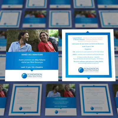 Création d'un carton d'invitation pour la fondation Paris Dauphine