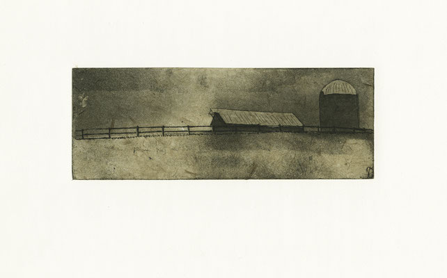 "#8. Course: Workshop to raise money for community based art school / Assignment: copper etching employing dry-point, line etch, air-brush aquatint, and chine collé  / Medium: intaglio etching with chine collé / Size: 7.5"" x 12"" / 2008"