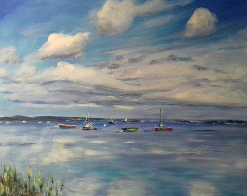Boote in einer Bucht bei Krusau, Acryl 40 x 50