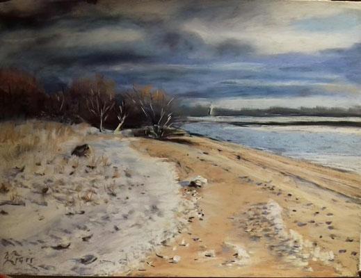 Winter an der Elbe 30 x 40 cm Pastell