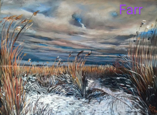 winter am Elbstrand  30 x 40 cm  Pastell