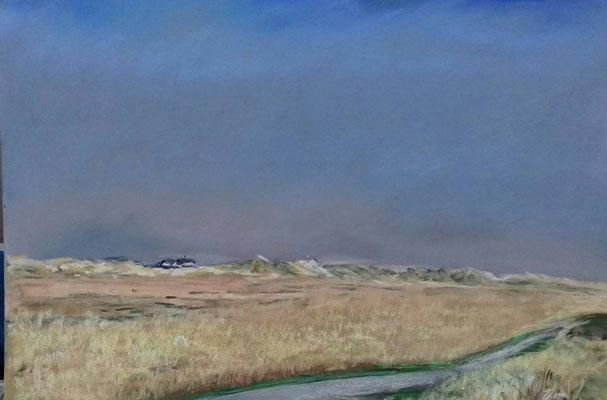 Dünenkette vom Marktplatz aus gesehen,  30 x 45 Pastell