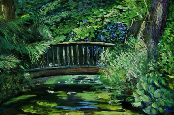 Brücke im Schlosspark 30 x 40 Pastell
