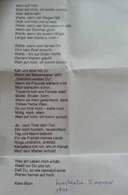 """""""Wart auf mich"""" /Konstantin Simonow - Übersetzung Klara Blum"""