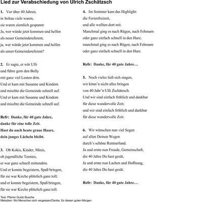 Lied - getextet von Pfarrer Busche
