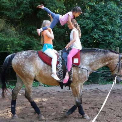 Voltigieren fördert Pferdekontakt, Selbstvertrauen, Körperbeherrschung, Fitness