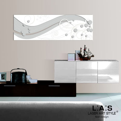 Abstract wall sculptures </br> Code: SI-108-B | Size: 180x58 cm </br> Colour: light grey-white-wood engraving