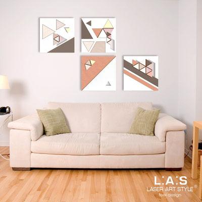 Quadri Astratti </br> Codice: SI-232 | Misura: 4 pz 30x30 cm/cad </br> Codice: SI-232L | Misura: 4 pz 60x60 cm/cad </br> Colore: decoro colori vintage-incisione legno