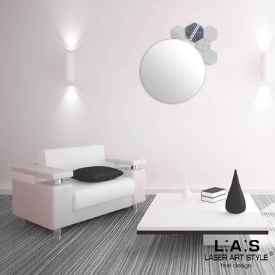Specchiere </br> Codice: SI-331 | Misura: 60x65 cm </br>  Colore: grigio luce-decoro grigio-incisione tono su tono
