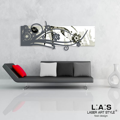 Abstract wall sculptures </br> Code: SI-106 | Size: 148x60 cm </br> Colour: white-charcoal grey-black engraving