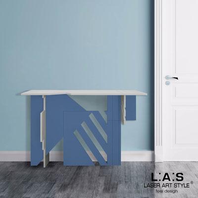 Complementi d'arredo </br> Codice: SI-362 | Misura: 120x40 h80 cm </br> Colore: grigio luce-blu distante-incisione legno