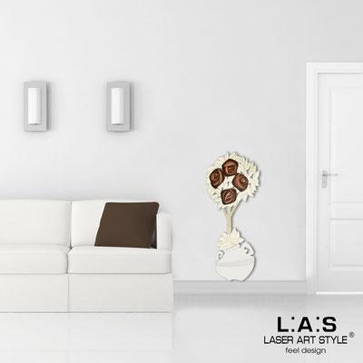 Quadri Floreali </br>  Codice: SI-181-C | Misura: 56x135 cm </br>  Colore: panna-decoro marrone-incisione legno