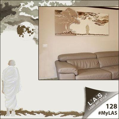 A casa di Saverio <br> Abitazione privata | Italia </br> Codice: SI-177 | Misura: 165x80 cm <br> Colore: nocciola-panna-decoro marrone-incisione legno