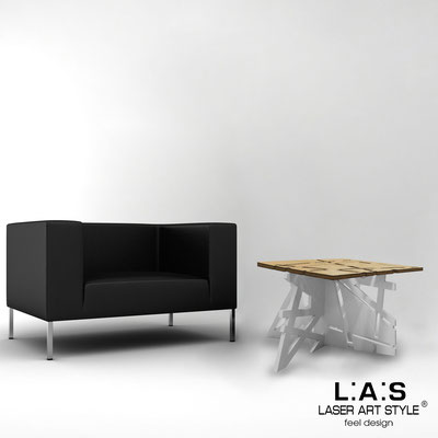 Furnishings </br> Code: MW-294   Size: 60x60 h40 cm </br> Colour: natural wood-light grey-inox steel-wood engraving