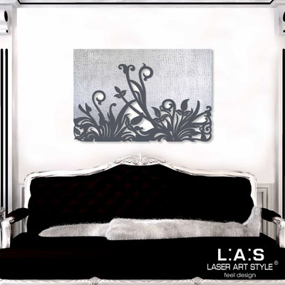 Abstract wall sculptures </br> Code: SI-135 | Size: 150x100 cm </br> Code: SI-135M | Size: 100x67 cm </br> Colour: silver leaf stucco decoration-charcoal grey