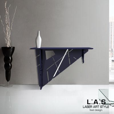 Complementi d'arredo </br> Codice: SI-292 | Misura: 120x40 h80 cm </br> Colore: blu petrolio-acciaio inox-incisione tono su tono