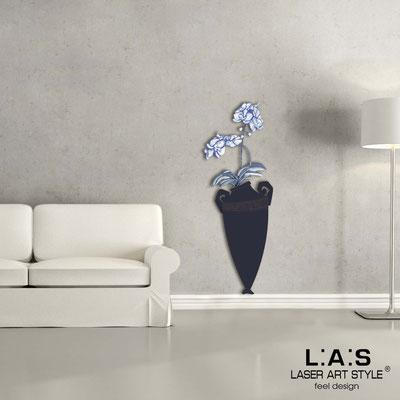 Floral wall sculpture </br> Code: SI-180-D | Size: 50x138 cm </br> Colour: navy blue-bluette decoration-wood engraving