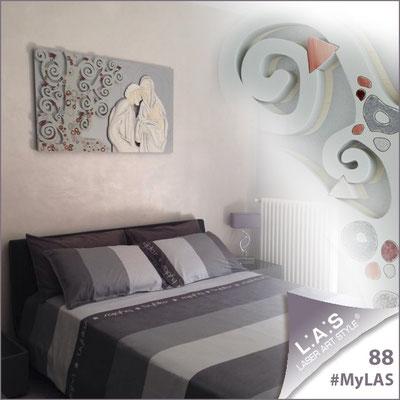 A casa di Maria Grazia <br> Abitazione privata   Italia </br> Codice: SI-173   Misura: 125x70 cm </br> Colore: argento - applicazione grigio luce - decoro mattone