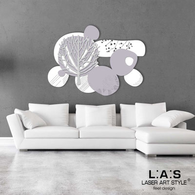 Floral wall sculpture </br> Code: SI-272 | Size: 120x90 cm </br> Colour: white-wistaria-silver