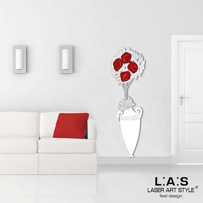 Quadri Floreali </br>  Codice: SI-181-D   Misura: 56x177 cm </br>  Colore: bianco-decoro rosso-incisione legno