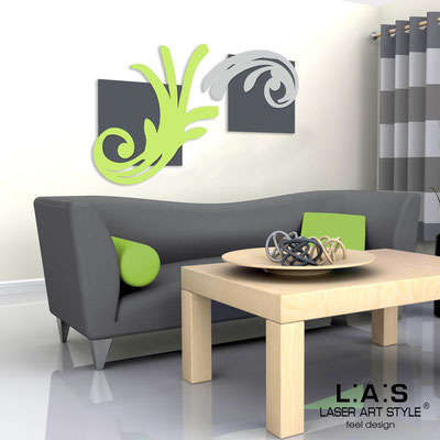 Abstract wall sculptures </br> Code: SI-252 | Size: 150x100 cm </br> Colour: charcoal grey/lime-light grey
