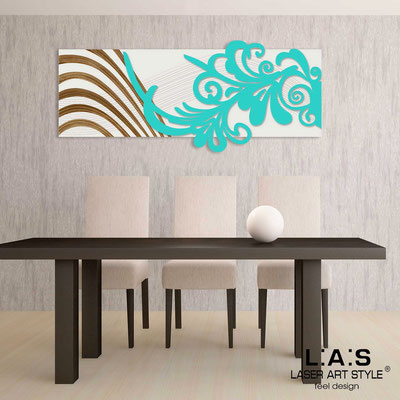 Abstract wall sculptures </br> Code: SI-134 | Size: 150x60 cm </br> Colour: cream-turquoise-wood engraving