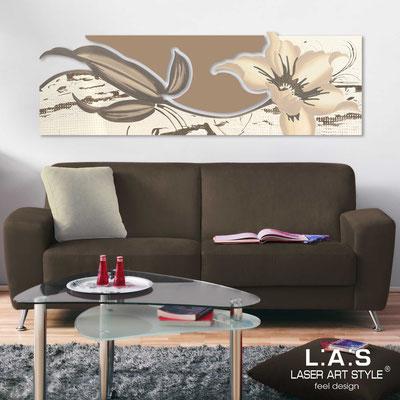 Quadri Floreali </br>  Codice: SI-074-B   Misura: 180x65 cm </br>  Colore: panna-nocciola-decoro tortora-incisione tono su tono