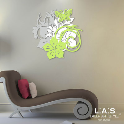 Floral wall sculpture </br> Code: SI-200 | Size: 65x65 cm </br> Code: SI-200L | Size: 90x90 cm </br> Colour: light grey-white-lime
