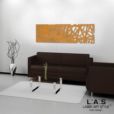 Quadri Astratti </br> Codice: SI-110-B | Misura: 148x50 cm </br> Colore: arancio medio-incisione legno