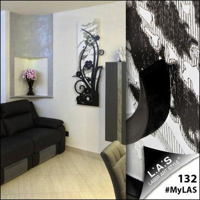 A casa di Federico e Giusy <br> Abitazione privata   Italia </br> Codice: SI-106   Misura: 148x60 cm <br> Colore: bianco-nero-incisione nero