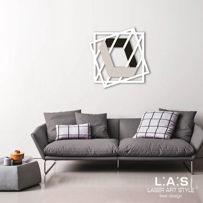 Abstract wall sculptures </br> Code: SI-302 | Size: 85x85 cm </br> Colour: white-black-wood engraving