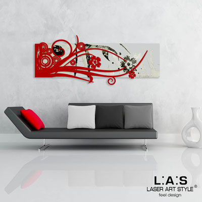 Abstract wall sculptures </br> Code: SI-106 | Size: 148x60 cm </br> Colour: light grey-red-black engraving