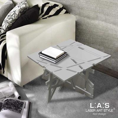 Complementi d'arredo </br> Codice: SI-294 | Misura: 60x60 h40 cm </br> Colore: grigio luce-acciaio inox-incisione tono su tono