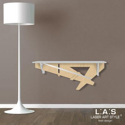 Complementi d'arredo </br> Codice: MW-291 | Misura: 110x30 cm </br> Colore: grigio luce-natural wood-acciaio inox-incisione tono su tono