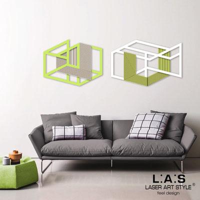 Quadri Astratti </br> Codice: SI-308 | Misura: 2pz 180x60 cm </br> Colore: verde acido-bianco-incisione legno