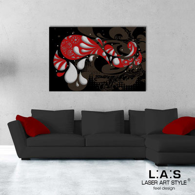 Abstract wall sculptures </br> Code: SI-213 | Size: 150x100 cm </br> Colour: red-black-wood engraving