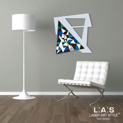 Abstract wall sculptures </br> Code: SI-270-A | Size: 65x65 cm </br> Colour: grey light blue-bluette decoration-wood engraving