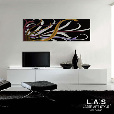 Abstract wall sculptures </br> Code: SI-113 | Size: 150x50 cm </br> Colour: black-multicoloured decoration-matched engraving