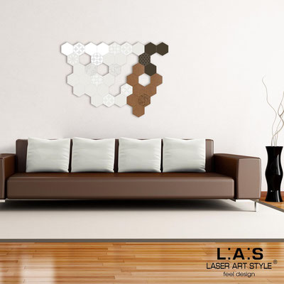 Abstract wall sculptures </br> Code: SI-300 | Size: 125x88 cm </br> Colour: white-cream-brown-bronze-matched engraving