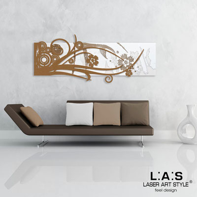 Abstract wall sculptures </br> Code: SI-106 | Size: 148x60 cm </br> Colour: white-bronze-wood engraving