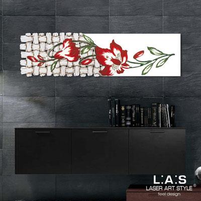 Quadri Floreali </br>  Codice: SI-075-B   Misura: 148x50 cm </br>  Colore: bianco-decoro rosso-incisione legno