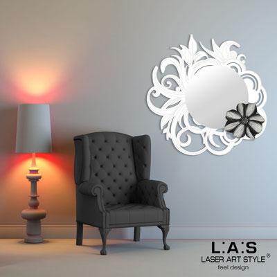 Specchiere </br> Codice: SI-298 | Misura: 95x95 cm </br>  Colore: bianco-decoro nero-incisione tono su tono
