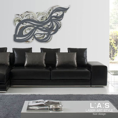 Abstract wall sculptures </br> Code: SI-171 | Size: 150x100 cm </br> Colour: light grey-charcoal grey-black engraving