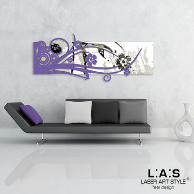 Abstract wall sculptures </br> Code: SI-106 | Size: 148x60 cm </br> Colour: white-purple-black engraving