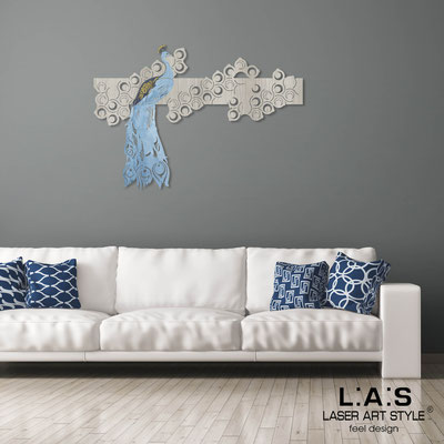 Figurative wall sculpture </br> Code: G-336XL | Size: 150x105 cm </br> Colour: grey wood-bluette decoration-wood engraving