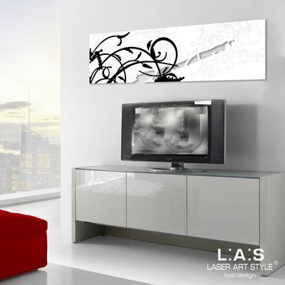 Quadri Astratti </br> Codice: SI-109-B | Misura: 180x58 cm </br> Colore: bianco-decoro nero-incisione tono su tono