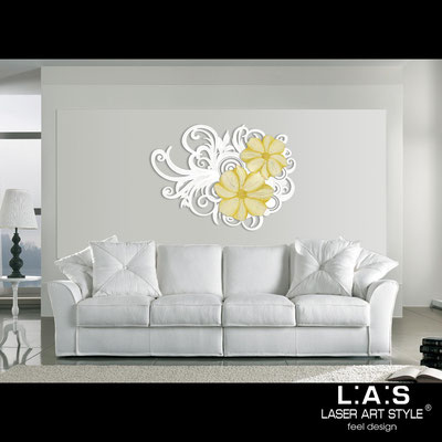 Floral wall sculpture </br> Code: SI-100 | Size: 150x100 cm </br> Code: SI-100M | Size: 100x67 cm </br> Colour: white-golden decoration-matched engraving